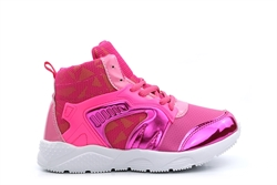 Girls High Top Lace Trainers Fuchsia