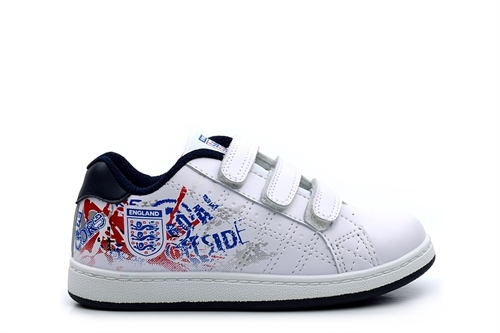 Kids England Velcro Touch Fasten Trainers White/Navy