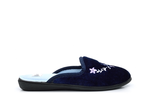 Jyoti Womens Mule Slippers With Embroidered Flower Detail Navy