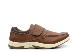 Dr Keller Mens Casual Shoes With Easy Touch Fastening Tan