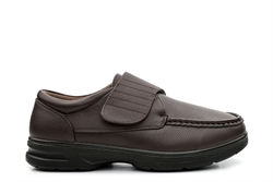 Dr Keller Mens Wide Fit Touch Fasten Lightweight Casual Shoes Brown