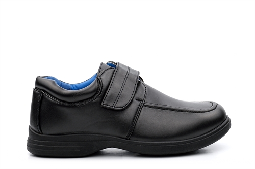 Boys Velcro Easy Fasten School Shoes Black