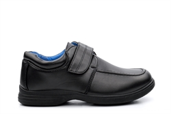 Boys Touch Fasten Easy Fasten School Shoes Black