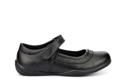 Girls Leather School Shoes With Velcro Fastening Black