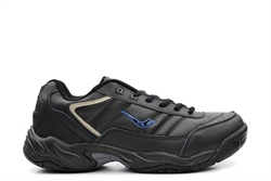 Ascot Mens Wide Fit Leather Lace Up Extra Large Trainers Black/Blue (Sizes 13-14)