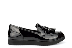 Womens Loafers With Tassel Detail Patent Black