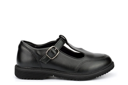 Little Diva Girls T-Bar School Shoes With Buckle Fastening Black