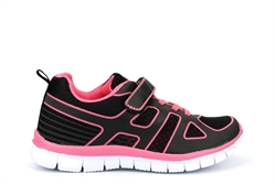 Dek Girls Velcro Lightweight Trainer With Elasticated Lace Fuchsia/Black