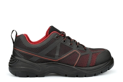 Tradesafe Mens Lightweight Safety Trainers With Composite Toe Cap Black/Red