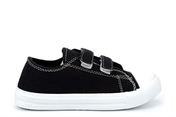 Kids Classic Canvas Pumps With Touch Fastening Black/White