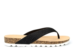 Krush Womens Toe Post Glitter Sandals Black