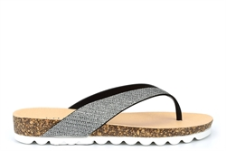 Krush Womens Toe Post Glitter Sandals Silver