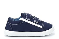 Chatterbox Boys Touch Fasten Canvas Pumps Navy