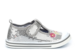 Dek Sequin T-Bar Canvas Pumps With Velcro Fastening Silver