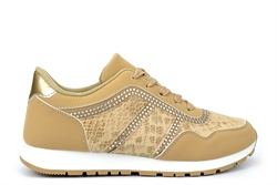Womens Diamante Trainers With Lace Up Fastening Beige