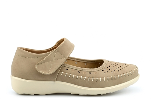 Dr Lightfoot Womens Comfort Casual Shoes With Punched Apron Detail Taupe