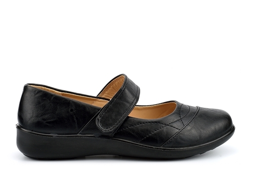 Dr Lightfoot Womens Touch Fasten Comfort Shoes Black