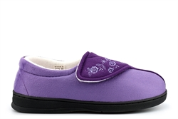 Jyoti Womens Wide Fit Slippers With Memory Foam Insole And Velcro Fastening Lilac (E Fitting)