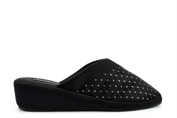 Comfort Plus Womens Wide Fit Wedge Mule Slippers Black