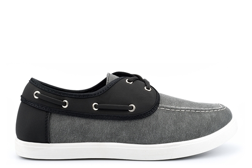 Dr Keller Mens Canvas Lace Up Shoes Black/Grey/White