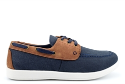 Dr Keller Mens Canvas Lace Up Shoes Navy/Brown/White