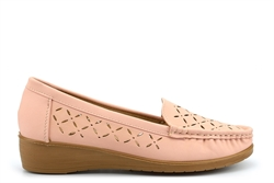 Womens Low Wedge Comfort Shoes With Cut Out Detail Pink