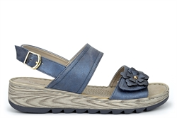 Boulevard Womens Wide Fit Sandals With Adjustable Velcro Vamp Metallic Blue (E Fitting)