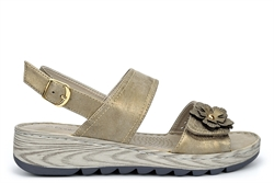 Boulevard Womens Wide Fit Sandals With Adjustable Velcro Vamp Metallic Gold (E Fitting)