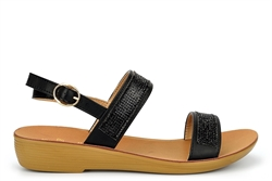 Dr Keller Womens Diamante Strap Sandals With Low Wedge Heel Black