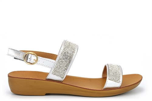 Dr Keller Womens Diamante Strap Sandals With Low Wedge Heel Silver