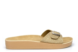 Womens Summer Mules With Adjustable Buckle Gold