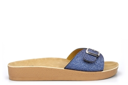 Womens Summer Mules With Adjustable Buckle Blue