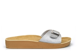 Womens Summer Mules With Adjustable Buckle Silver
