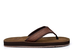 PDQ Mens Leather Effect Toe Post Flip Flops Brown