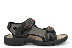 PDQ Mens Touch Fastening Sports Sandals Grey/Black