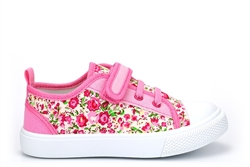 Girls Touch Fastening Canvas Shoes With Floral Print Pink