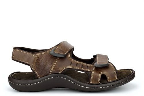 Dr Keller Mens Leather Sandals With Adjustable Touch Fastening Straps Brown