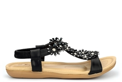 Maya Grace Womens Flat Sandals With Diamante Flower Detail Black