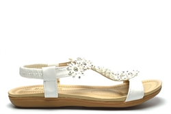 Maya Grace Womens Flat Sandals With Diamante Flower Detail White