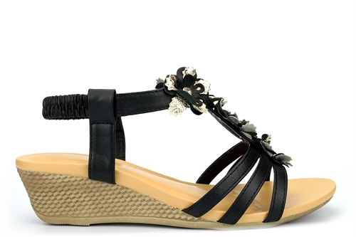 Maya Grace Womens Wedge Sandals With Golden Flower And Diamante Detail Black