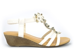Maya Grace Womens Wedge Sandals With Golden Flower And Diamante Detail White