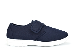 Scimitar Mens Velcro Fastening Denim Textile Shoes Navy Blue
