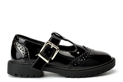 Little Diva Girls Brogue Patent School Shoes With Buckle Fastening