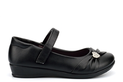 US Brass Girls Touch Fasten School Shoes With Diamante Heart Detail