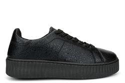 Dek Womens Shiny Platform Trainers Black