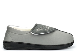 Jyoti Womens Wide Fit Slippers With Memory Foam Insole And Velcro Fastening Grey (E Fitting)