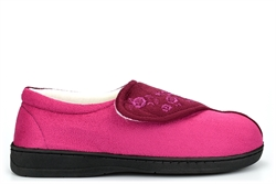 Jyoti Womens Wide Fit Slippers With Memory Foam Insole And Velcro Fastening Fuchsia (E Fitting)