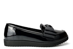 Krush Womens Patent Loafers With Bow Detail Black