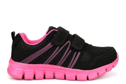 Dek Girls Touch Fastening Super Lightweight Jogger Trainers Black/Fuchsia