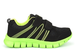 Dek Boys Touch Fastening Super Lightweight Jogger Trainers Black/Lime